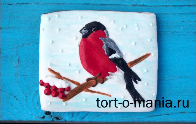 Новогодняя открытка на прянике «Снегирь»