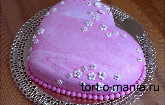 Розовое сердце (мраморная мастика)