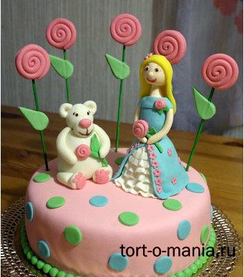 Торт для девочки с принцессой и мишкой (мастика)