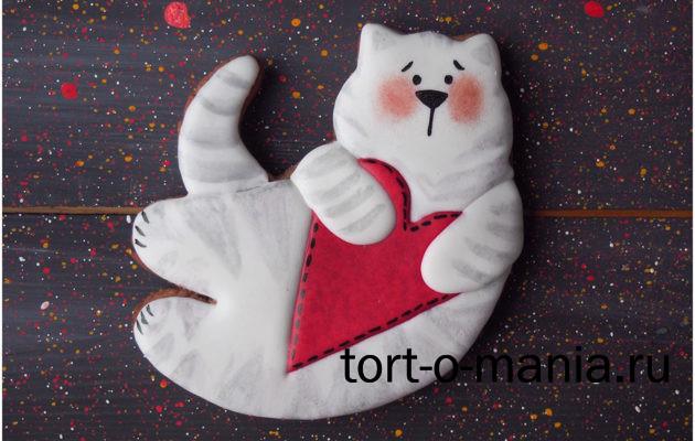 Пряники на 14 февраля. Пряник летящий кот в стиле Тильда с сердечком
