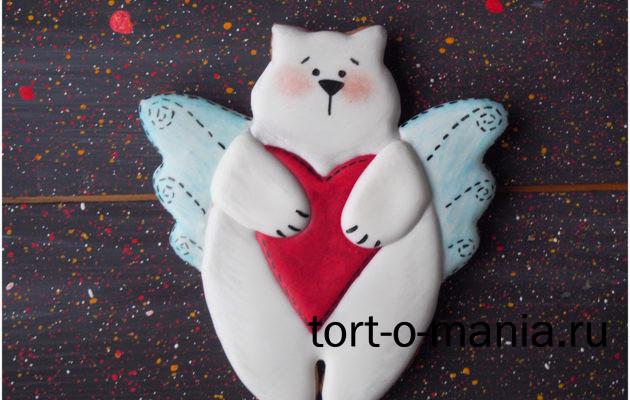 Пряники на 14 февраля. Пряничный кот в стиле игрушек «Тильда»