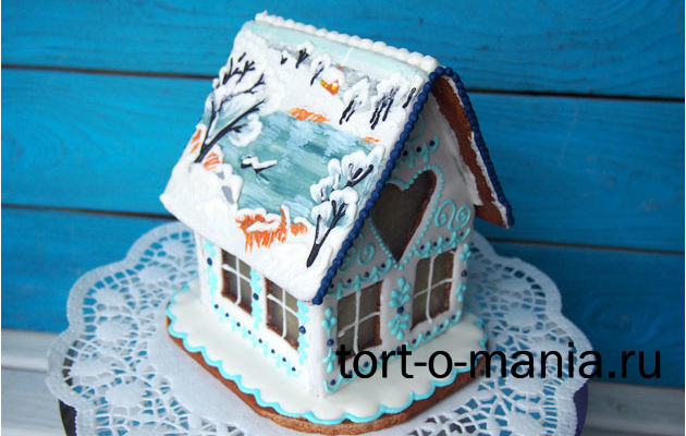 Пряничный домик с зимним пейзажем