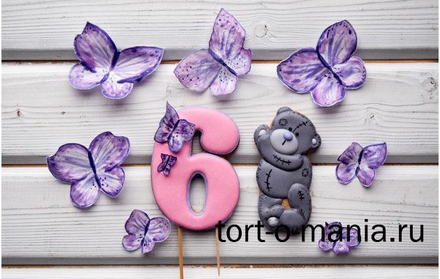 Пряники для торта и вафельные украшения «Бабочки и мишка Тедди»