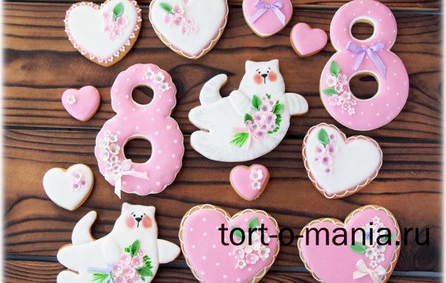 Пряники на 8 марта. Серия с котами, розовая.