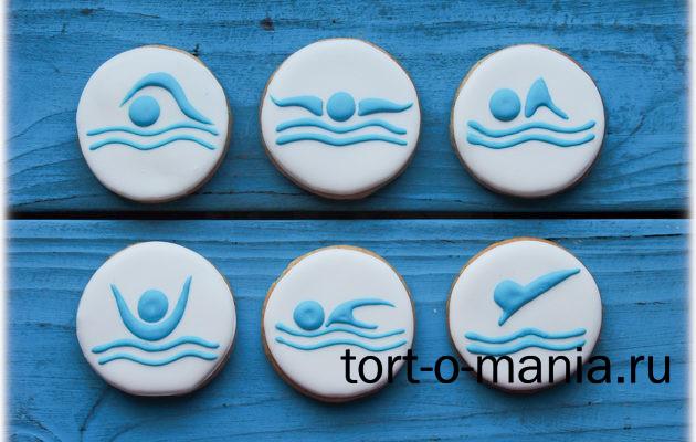Пряники для капкейков для инструктора по плаванию