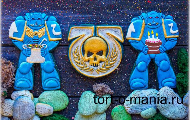 Пряники на тему Warhammer40k, воины Ультрамарины и их герб