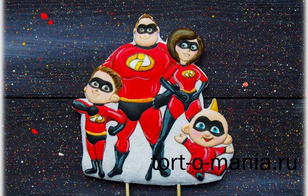 Пряник для торта «Супер-семейка»