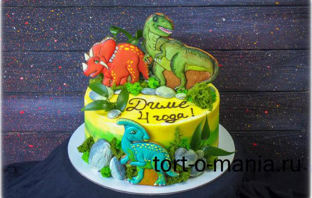 Детский торт с динозаврами