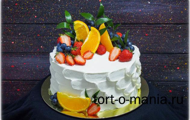 Кремовый торт с фруктами «Сочно!»