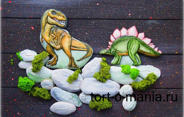 Пряники для торта Тиранозавр и стегозавр
