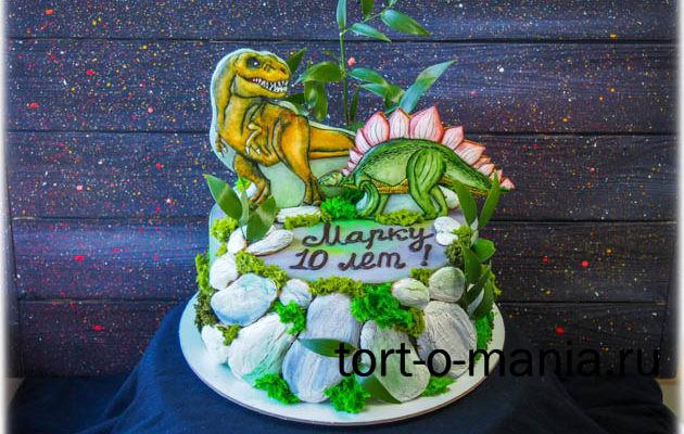 Торт «Динозавры на скале»
