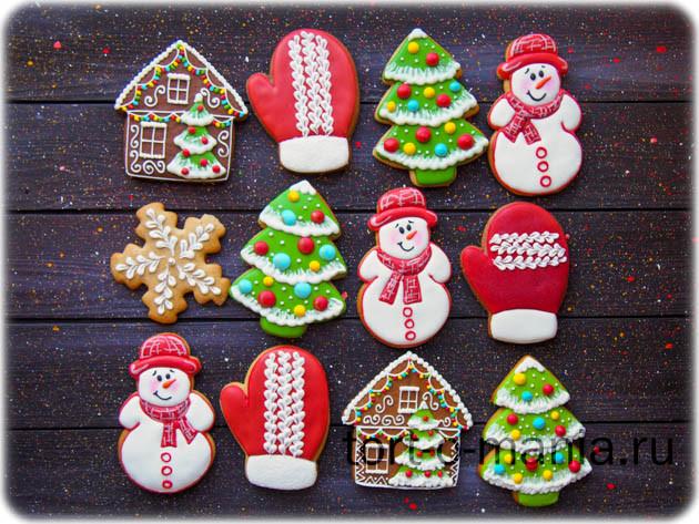 Серия новогодних пряников 2019 «Снеговики в красном»