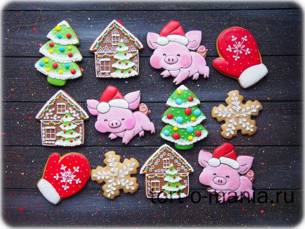 Серия новогодних пряников «Свинка в колпаке»