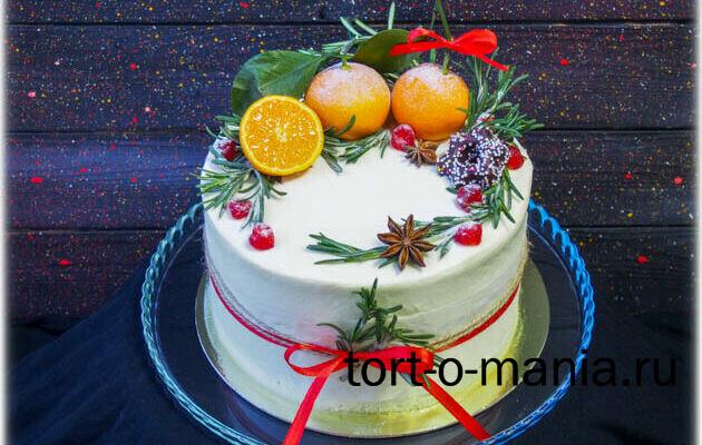 Торт «Мандаринки с листочками»