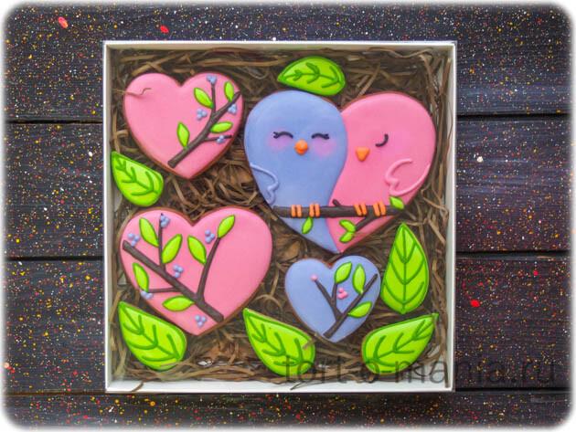 Пряники ко Дню влюбленных «Птички-обнимашки»