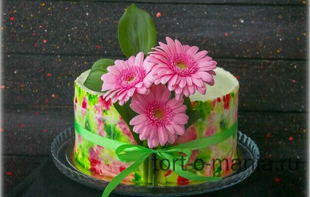 Торт с акварельной росписью