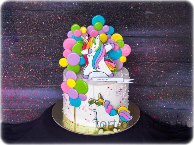 Торт «Радужные единороги»