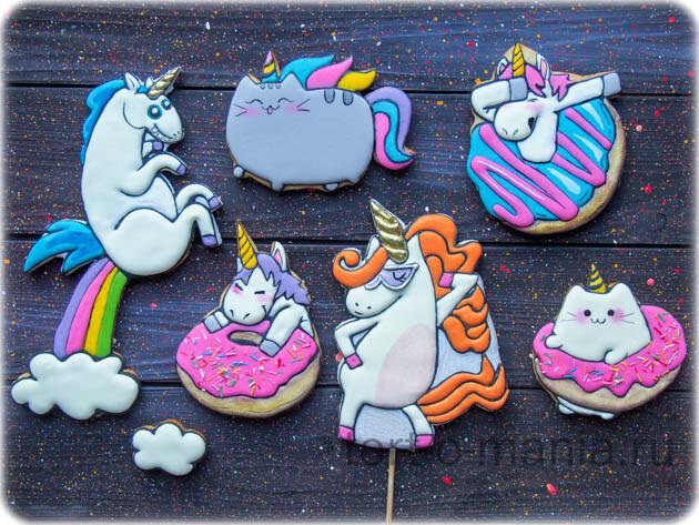 Прянички Единороги, котики и пончики